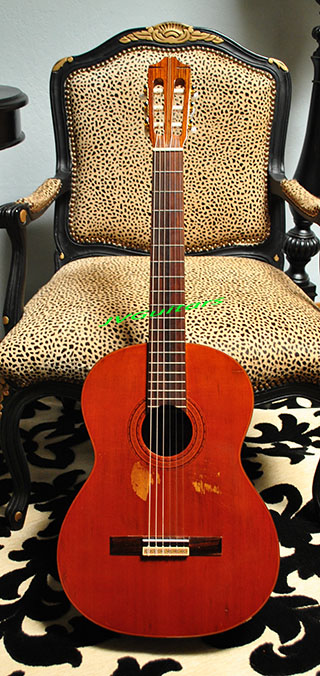 1973 Morris Classical Guitar Exotic Solid Cedar Top with Brazilian Rosewood back & sides - bridge-fingerboard all look to be BRW and WoW what Volume very cool nick named  $449.00